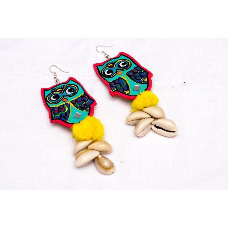 Handmade Wooden Owl Shaped Earrings