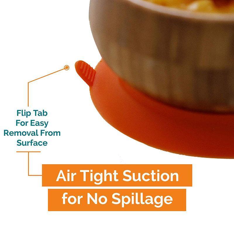 Bamboo Orange Spill-Safe Baby Bowl & Silicone Spoon Set