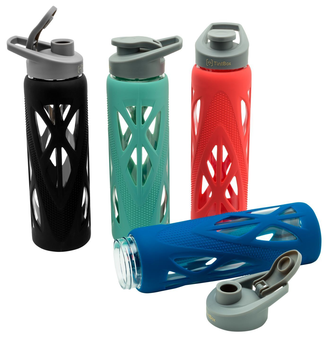 Borosilicate Glass Water Bottle with Silicone Sleeve