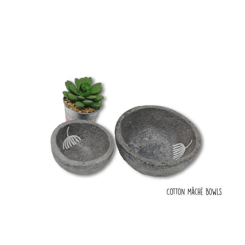 Handmade Cotton Mache Dark Grey & White Dandelion Print Bowls