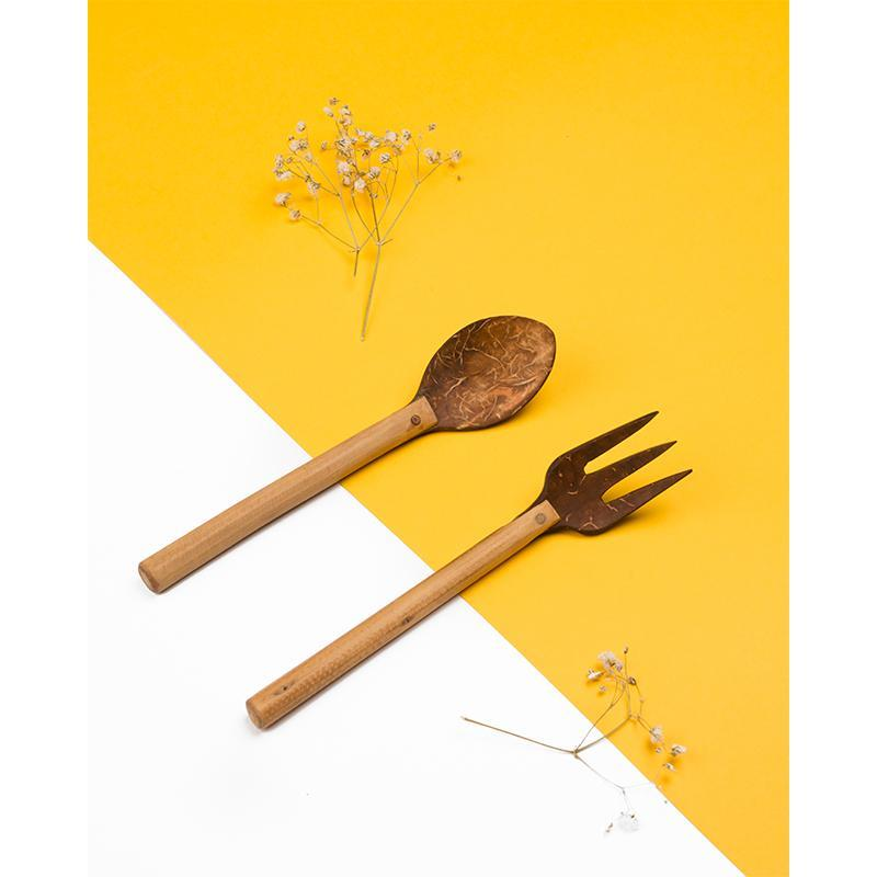 Upcycled Coconut Shell Spoon & Fork