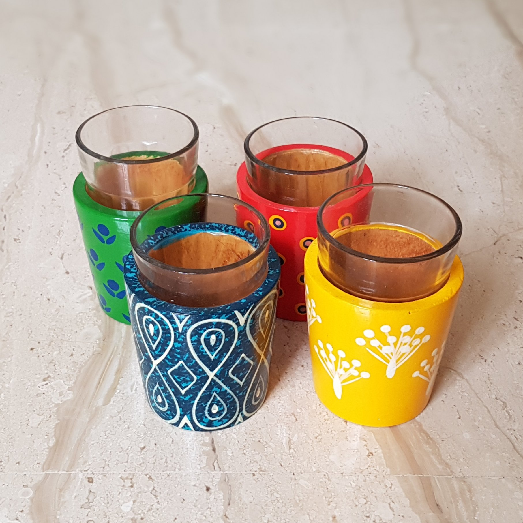 Tea Glasses with Hand-Carved Wooden Holders