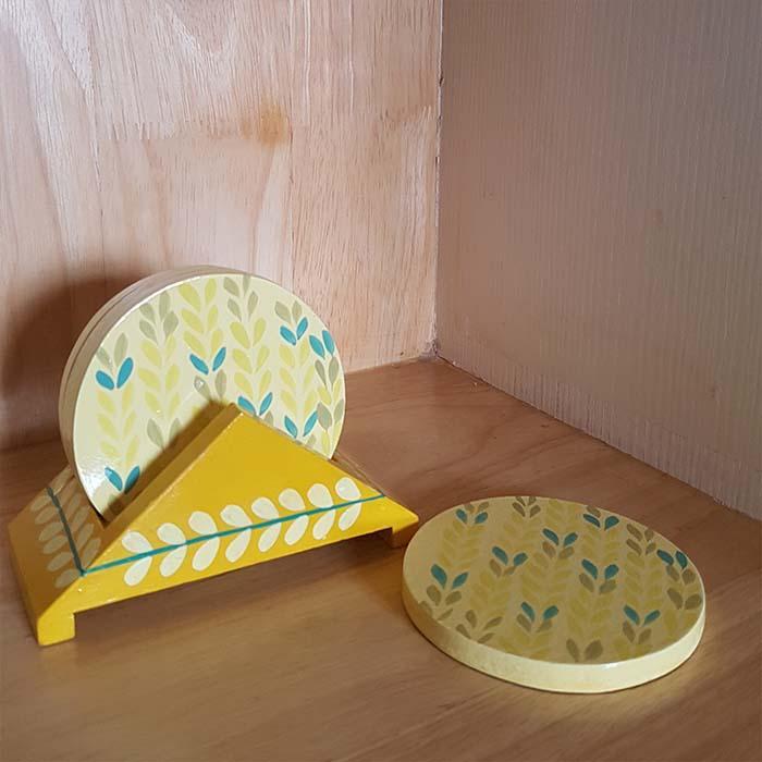 Coaster Set in Banarasi Woodwork