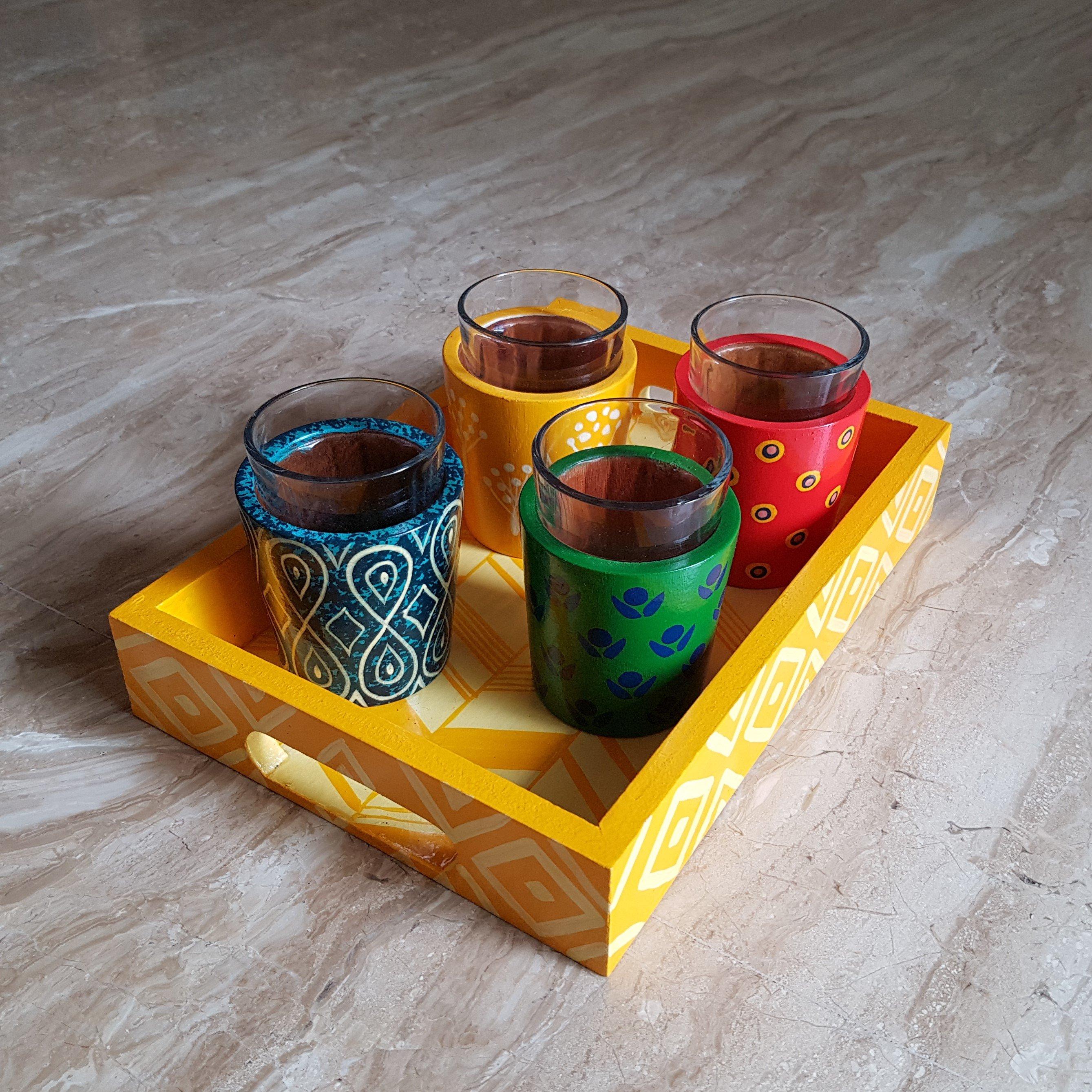 Chai Glasses & Tray Set
