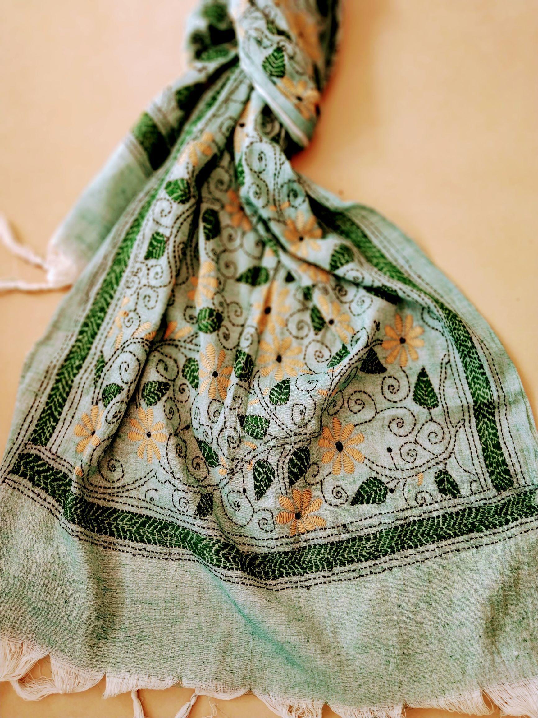 Handloom Silk Cotton Floral Kantha Stole