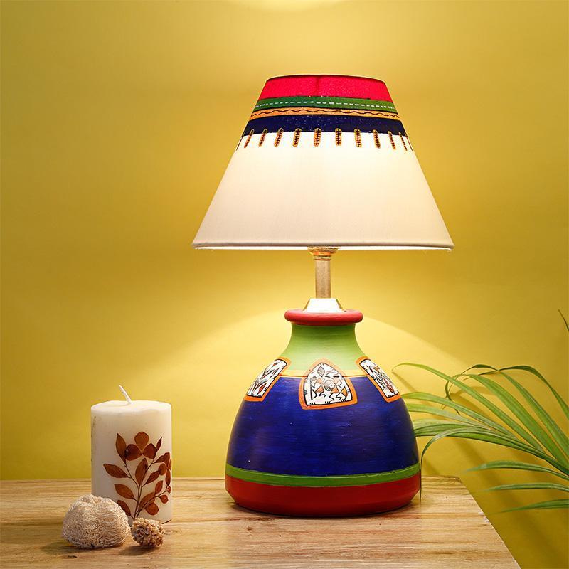 Terracotta Flat Matki Table Lamp