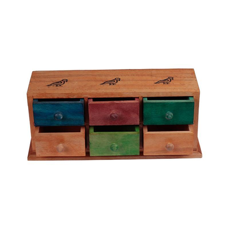 Multicoloured Handcarved Mini Wooden Chest of Drawers