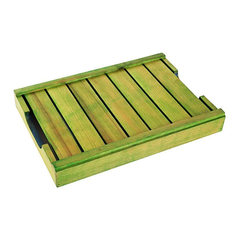 Handcarved Green & Blue Wooden Tray