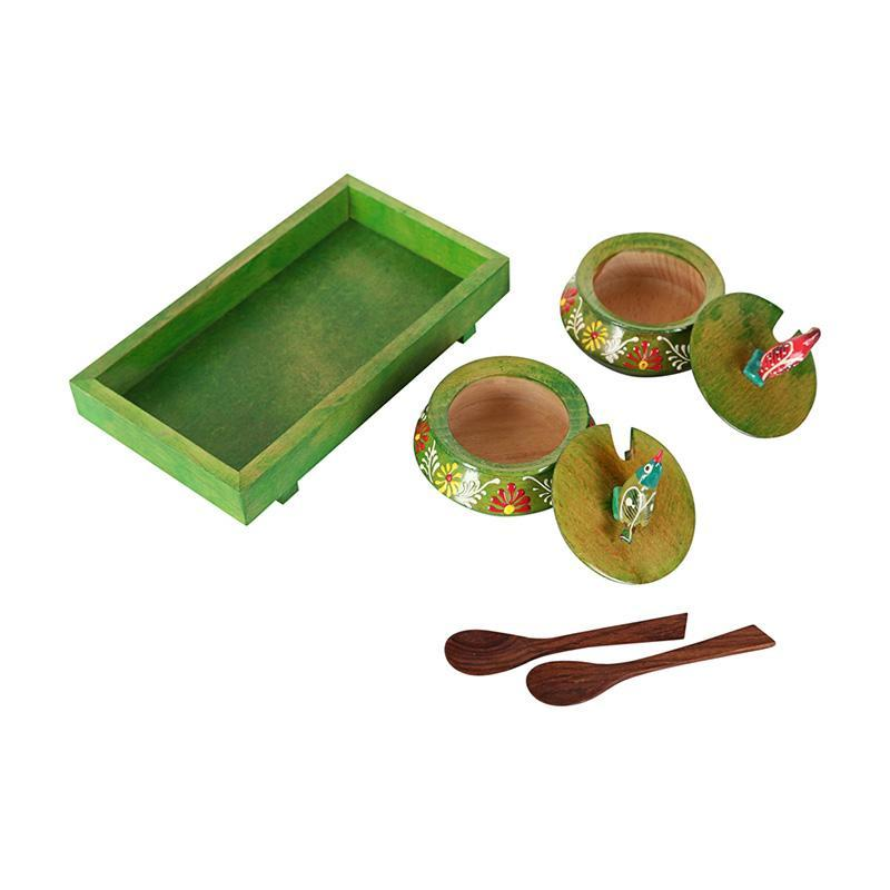 Handcarved Green Wooden Pickle Jars & Tray
