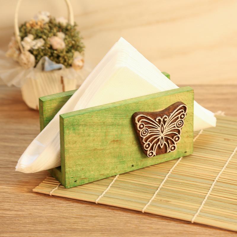 Handcarved Green Wooden Napkin Holder
