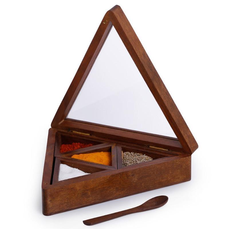 Handcarved Sheesham Pyramid Shaped Spice Box