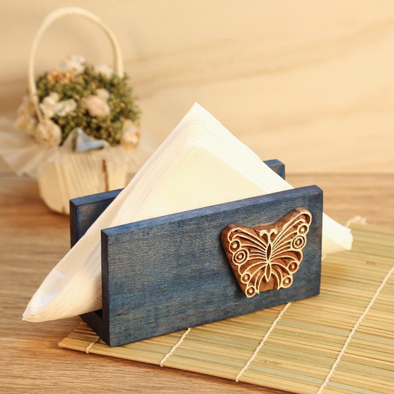 Handcarved Blue Wooden Napkin Holder