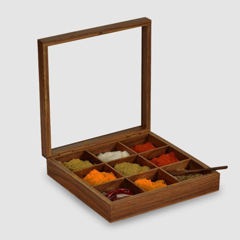 Handcarved Sheesham Square Spice Box