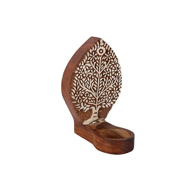 Hand-Carved Wooden Tealight Holder