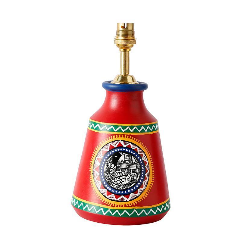 Red Madhubani Terracotta Table Lamp