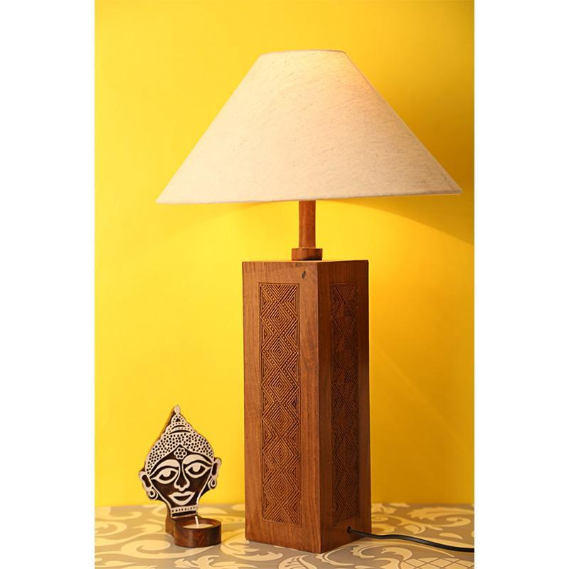 Engraved Wooden Table Lamp