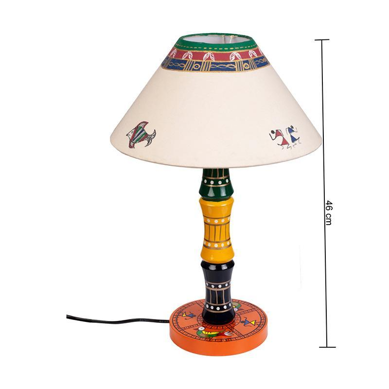 Glossy Wooden Hand Painted Table Lamp