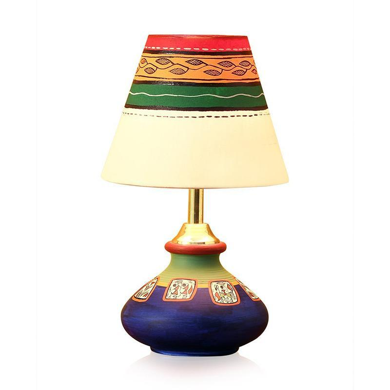 Hand-Painted Terracotta Table Lamp