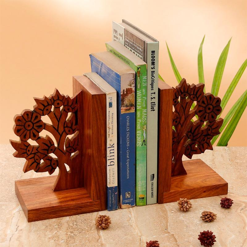 Sheesham Tree Of Life Engraved Bookends
