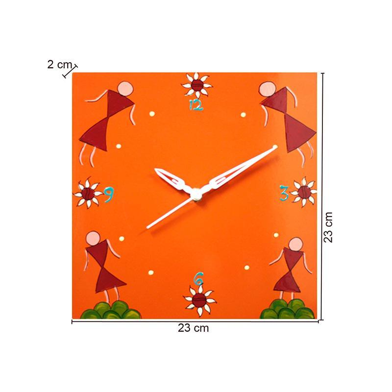 Wall Clock with Hand Painted Warli Art