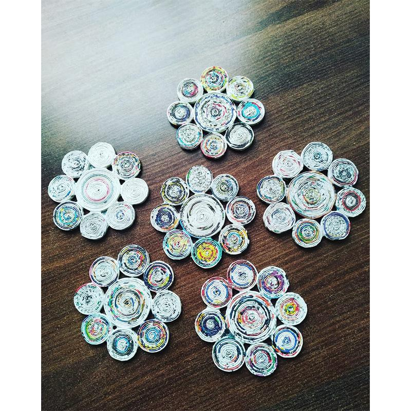 Floral Recycled Newspaper Coasters