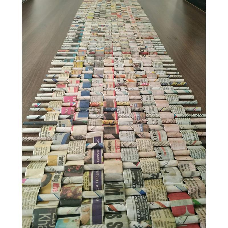Upcycled Newspaper Table Runner