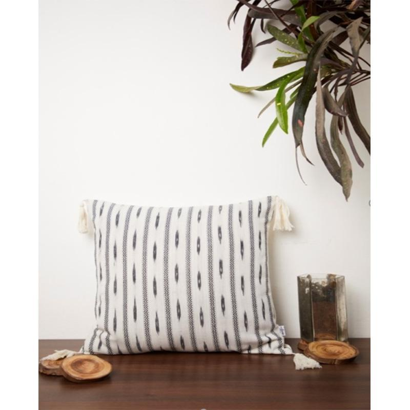 Ikkat Black and White Cushion