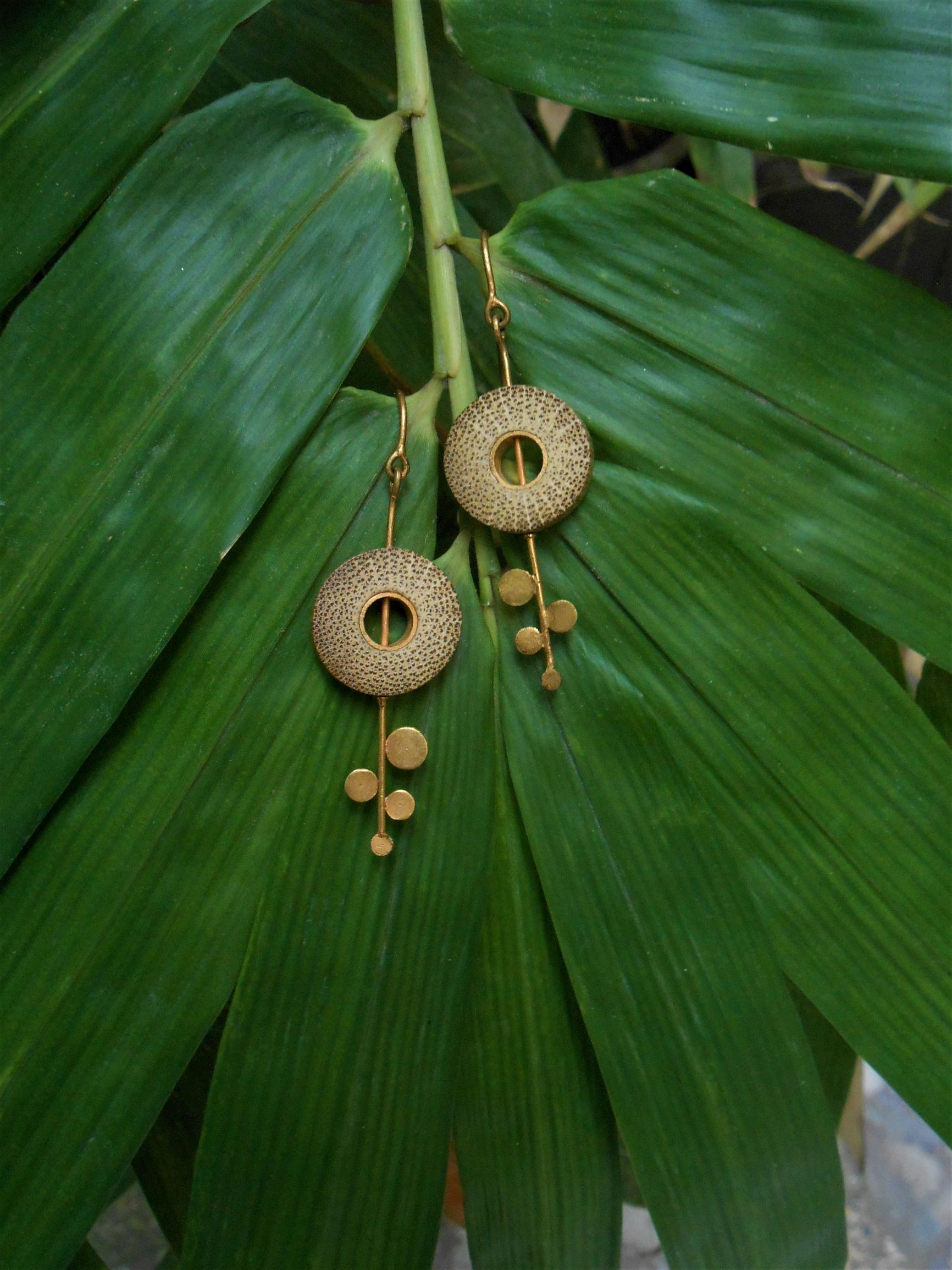 Bamboo and Gold-Plated Brass Earrings