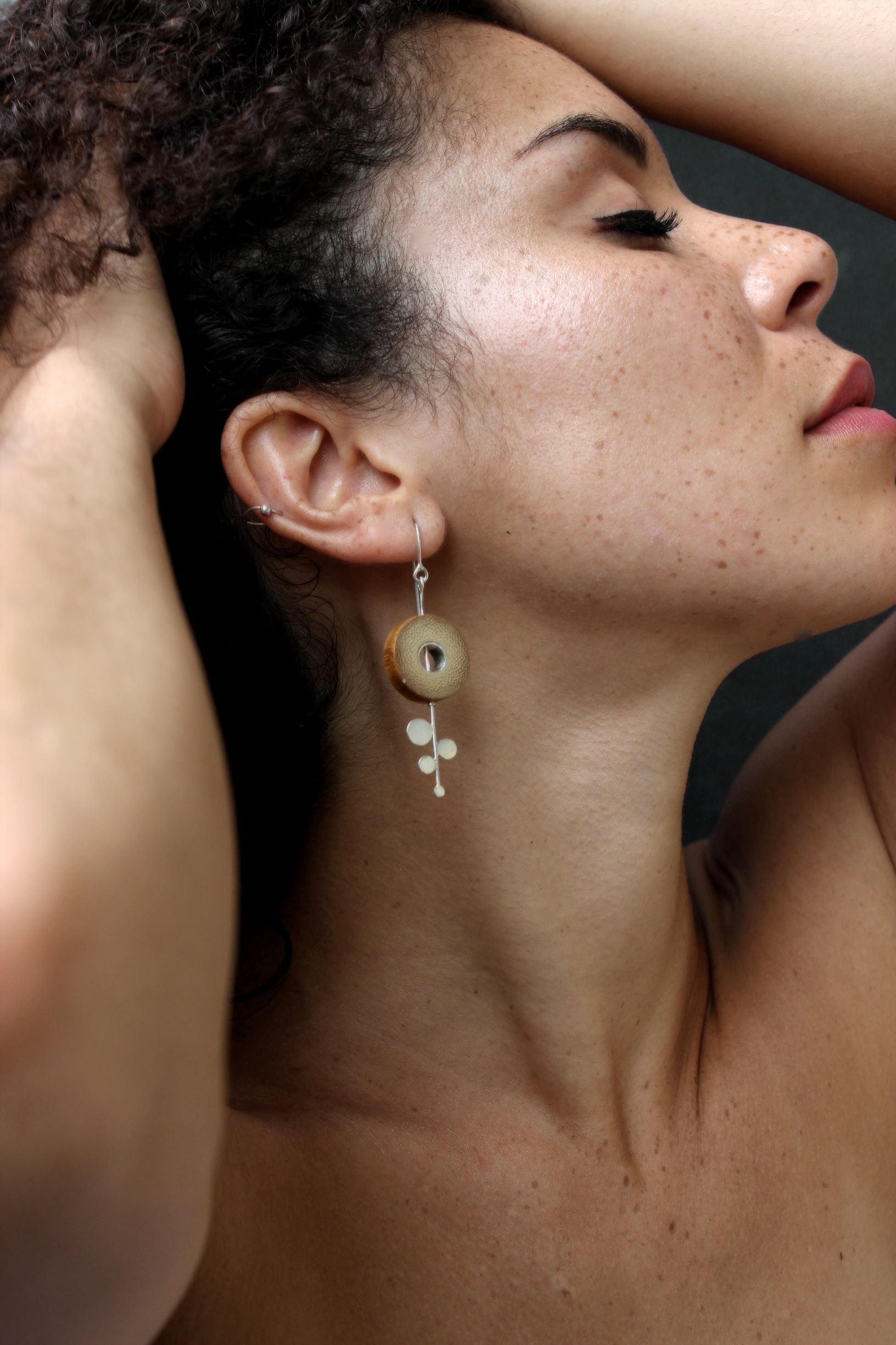Bamboo and Silver Handcrafted Earrings