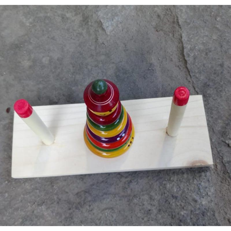 Handcrafted Wooden Tower of Brahma Game