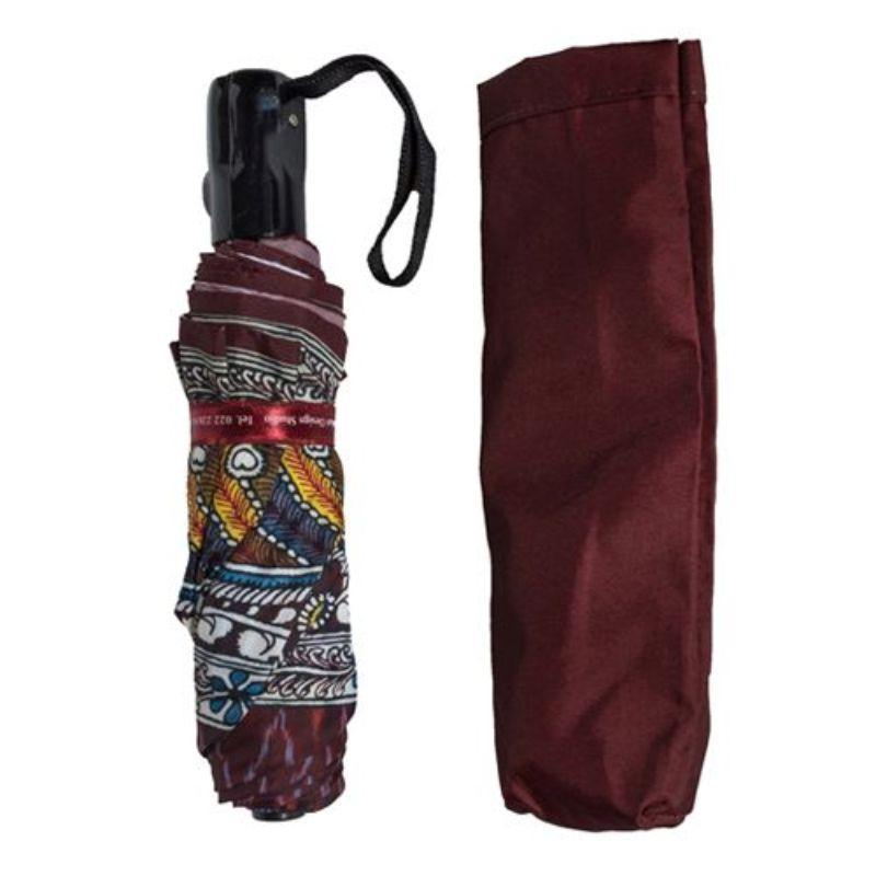 Maroon Ikkat Three Fold Umbrella