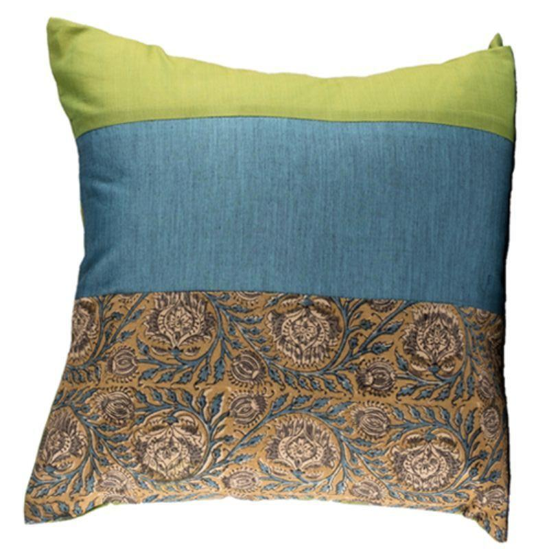Olive Block Printed Cushion Cover