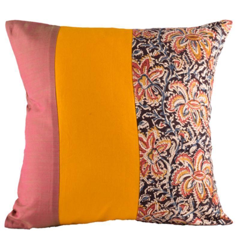 Pink Block Printed Cushion Cover