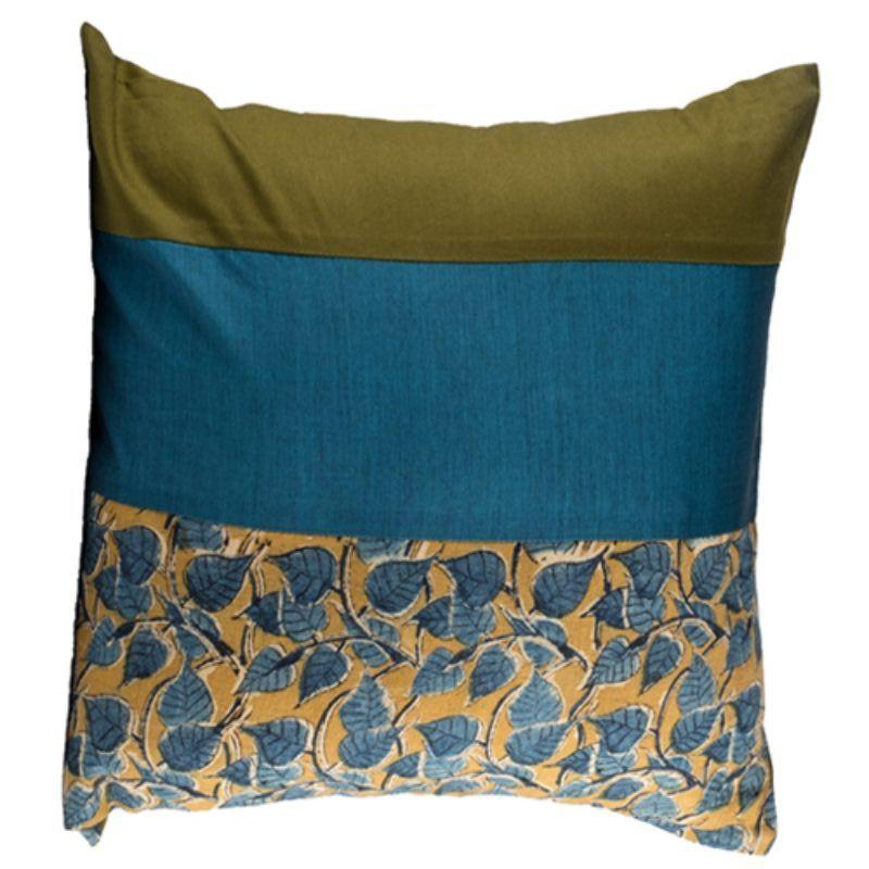 Indigo & Olive Block Printed Cushion Cover