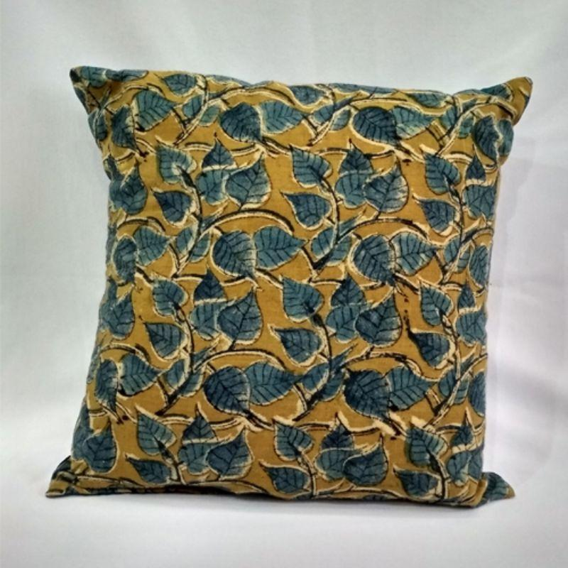 Small Olive Block Printed Cushion Cover